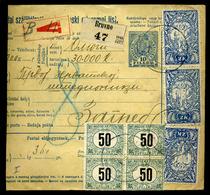 BRUVNO 1919. Csomagszállító SHS-magyar Bélyeges Bérmentesítéssel, ( A Forgalmi Bélyegek Helyett 15 Db 50f-es Portóbélyeg - Hongarije