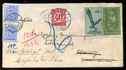 SZŐDLIGET 1936. Díjjegyes Kivágásokkal (!) Bérmentesített Levél Abonyból Visszaküldve , Kettős Portózással! Látványos, R - Hongarije