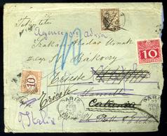 KÉTHELY 1910. Levél 2*10f-rel Bérmentesítve, Többszörös Továbbküldéssel 3 Ország Portózásával!  /  Letter 2*10f Frank. M - Hongarije