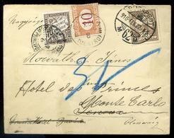 BUDAPEST 1910. Levél Olaszországból, Továbbküldve Monaco-ba , A Két Ország Portózásával. Ritka Darab , (nagyon Jó értékű - Strafport
