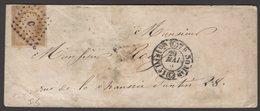 SEINE : Pli Avec 10c Empire Non Dentelé Oblt Los C Romaine + CàDate Type 1520: PARIS C > PARIS - 1849-1876: Période Classique