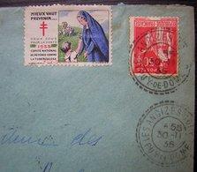 Les Ancizes-Comps (Puy De Dôme) 1935 Jolis Cachets + Vignette Tuberculose Sur Lettre Pour Arques - Postmark Collection (Covers)