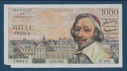 Billet 1000 Fr  Richelieu  Du 2 - 12 - 1954 - 1871-1952 Anciens Francs Circulés Au XXème