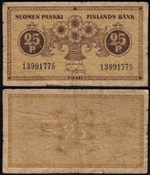 FINNLAND - FINLAND 25 PENNIA BANKNOTE 1918 PICK 33 VG/F (5/4)  (23585 - Finnland