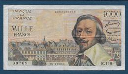 Billet 1000 Fr  Richelieu  Du  7 - 4 - 1955 - 1871-1952 Gedurende De XXste In Omloop