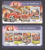 SS339 2016 S. TOME E PRINCIPE TRANSPORT FIRE TRUCKS 1KB+1BL MNH - Camions