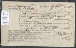 France - 1811 - Mandat Entre Ajaccio Et Piombino ( Departement Conquis En Italie ) - Mention Manuscrite Verso - Revenue Stamps
