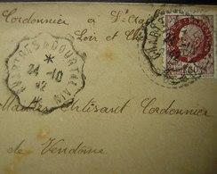 Convoyeur Chartres à Courtalain 1942 + Cachet Tireté, Voir Photo - Marcophilie (Lettres)