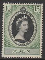 Aden/Yemen 1953 Queen Elizabeth II 15 C Dark Green/black SW 48 * MM - Yemen
