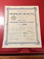 Comptoir  National  De La  PHARMACIE  FRANÇAISE ------ Certificat  Nominative  D' Actions - Industry