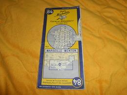 ANCIENNE CARTE PNEU MICHELIN N°84 MARSEILLE - MENTON...DATE ?... - Cartes Routières
