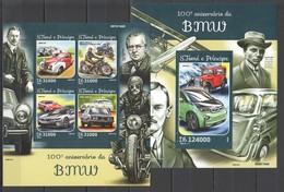 CC523 2016 S. TOME E PRINCIPE TRANSPORT CARS BMW 1KB+1BL MNH - Voitures