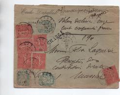 ENVELOPPE CHARGE De MURAT (CANTAL) Avec SEMEUSE LIGNEE & TYPE BLANC - Storia Postale