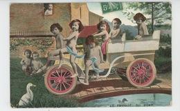 """ENFANTS - BEBES - Jolie Carte Fantaisie Bébés Dans Automobile """"Le Passage Du Pont """" - Bébés"""