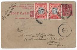 Kenya Uganda Tanganyika KUT, 20c Black & Orange KGVI & Birds, 15c Pre-printed KGVI Postcard, Air Mail 1944 Tanga Athens - Stamps