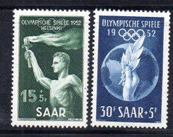 XP2906 - SARRE SAAR 1952 , Serie 301/302  *  Linguella. Olimpiadi Helsinki - 1947-56 Occupazione Alleata