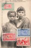 Mauritanie Fillette Maure Pourougne Et Jeune Fille Maure Seins Nus Ethnic Nude Nu + Timbre Timbres - Mauritanie