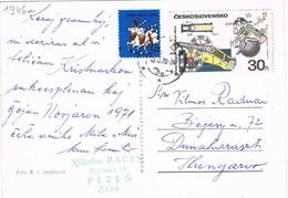 32978. Postal PLZEN (Checoslovaquia) 1970. Viñeta, Label USA Navidad, Greetings - Checoslovaquia