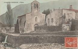 Ardèche : ST-MARTIN-l'INFERIEUR : L'église ( Colorisée ) - France