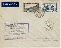 AIR-FRANCE-VOYAGE D'ESSAI-DAKAR-BAMAKO-PREMIER SERVICE POSTAL AERIEN REGULIER  15 NOVEMBRE 1937-AVIATION - Avions