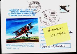 Avion Biplane Marche SINAIA 1987  Cachet Special - Aéreo