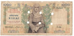 Greece WW2 Emergency Issue Without Stamp (Athens) 1000 Drachmai - Griekenland
