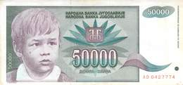 50000 Dinar Banknote Jugoslawien 1992 VF/F (III) - Jugoslawien