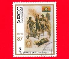 CUBA - 1987 - Capex '87 - La Posta Del 19° Secolo - Bolivia - Bandiera - Postini A Cavallo - 3 - Cuba