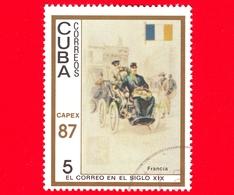 CUBA - 1987 - Capex '87 - La Posta Del 19° Secolo - Francia - Bandiera - Servizi Postali - 5 - Cuba