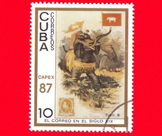 CUBA - 1987 - Capex '87 - La Posta Del 19° Secolo - Siam - Elefante - Bandiera - Servizi Postali - 10 - Cuba