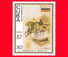 CUBA - 1987 - Capex '87 - La Posta Del 19° Secolo - Russia - Bandiera - Postini A Cavallo - 30 - Cuba