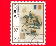 CUBA - 1987 - Capex '87 - La Posta Del 19° Secolo - Indocina - Bandiera - Postini A Cavallo - 50 - Cuba