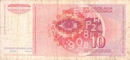 10 Dinar Banknote Jugoslawien 1990 VF/F (III) - Jugoslawien