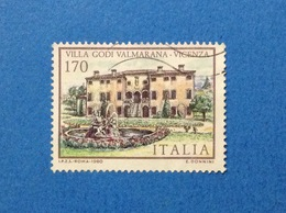 1980 ITALIA FRANCOBOLLO USATO STAMP USED VILLE VICENZA VILLA GODI VALMARANA - Architettura