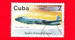 CUBA - 1988 - Aereo - Aviazione - Compagnie Aeree - Douglas DC-4 (Madrid, 1948) - 2 - Cuba
