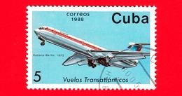 CUBA - 1988 - Aereo - Aviazione - Compagnie Aeree - Il-62 (Berlino, 1972) - 5 - Cuba