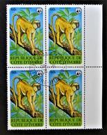 WWF - ANIMAUX EN PERIL - COLOBUS VERUS 1979 - 1 BL X 4 OBLITERE - YT 517 - MI 621 - BORD DE FEUILLE DROIT - Côte D'Ivoire (1960-...)