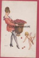 ILLUSTRATEUR---HEROUARD---Qui Trop Embrasse Mal Etreint---Femme Et Angelot  Coeurs - Other Illustrators