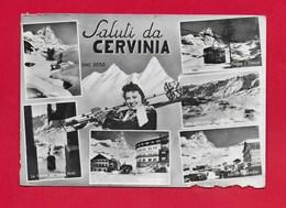 CARTOLINA VG ITALIA - Saluti Da CERVINIA (AO) - Vedutine Multivue - Pin Up Sugli Sci - 10 X 15 - ANN. 1956 - Saluti Da.../ Gruss Aus...