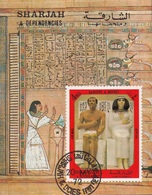 Sharjah 1972 Bf. 152 Antico Egitto Faraone Statua Ranotpe Nofret Sheet Imperf. CTO - Egittologia