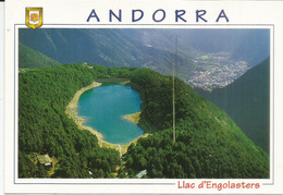 Andorra In Summer , Lake Engolsters,  Postcard Franked With Spanish Andorran Stamps + Andorra La Vella Postmark. - Andorra