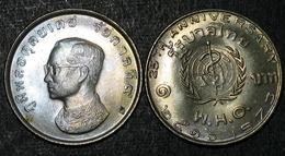 Thailand Coin 1 Baht 1973 25th World Health WHO Y99 UNC - Thailand