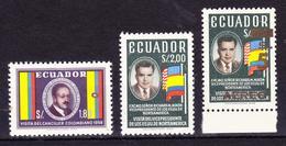 ECUADOR 1958-1969 POLITICIANS VISITS CARLOS SANZ & RICHARD NIXON + ERROR SURCHARGED DISPLACED MNH SC# 638-639 C460 - Ecuador