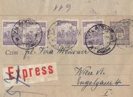 UNGARN EXPRESS ROHRPOST 1918? - 15 F Ganzsache + 4 X 15 F Frankatur, Botendienst ?, Gel.v. Vilagos > Wien VI - Ganzsachen