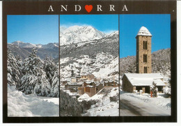 Andorra In Winter. Postcard Franked With Spanish Andorran Stamps + Andorra La Vella Postmark. - Andorre