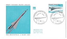 Enveloppe Premier Jour - CONCORDE Premier Vol Inaugural 2 Mars 1969 - Toulouse (Haute-Garonne) France - Concorde