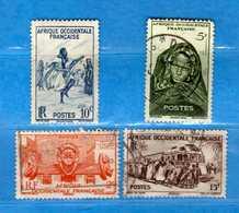 (Us3)  Afrique Occidentale Française, AOF 1947 - Yvert.24-33-37-40 . Oblitéré .  Vedi Descrizione - A.O.F. (1934-1959)