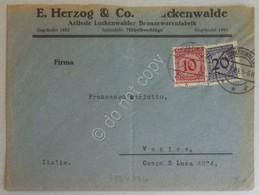 Storia Postale Deutsche Reich 1925 - 10 E 20 Pfg Su Lettera Luckenwalde Venezia - Francobolli