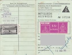 MITGLIEDSAUSWEIS Der Ö-JUGENDHERBERGSWERK 1961 Mit Marke Zell Am See, Bild Entfernt - Historische Dokumente
