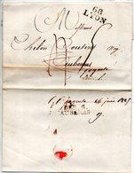 H933  Ardeche Déboursé D AUBENAS 1825  De LYON - Marcophilie (Lettres)